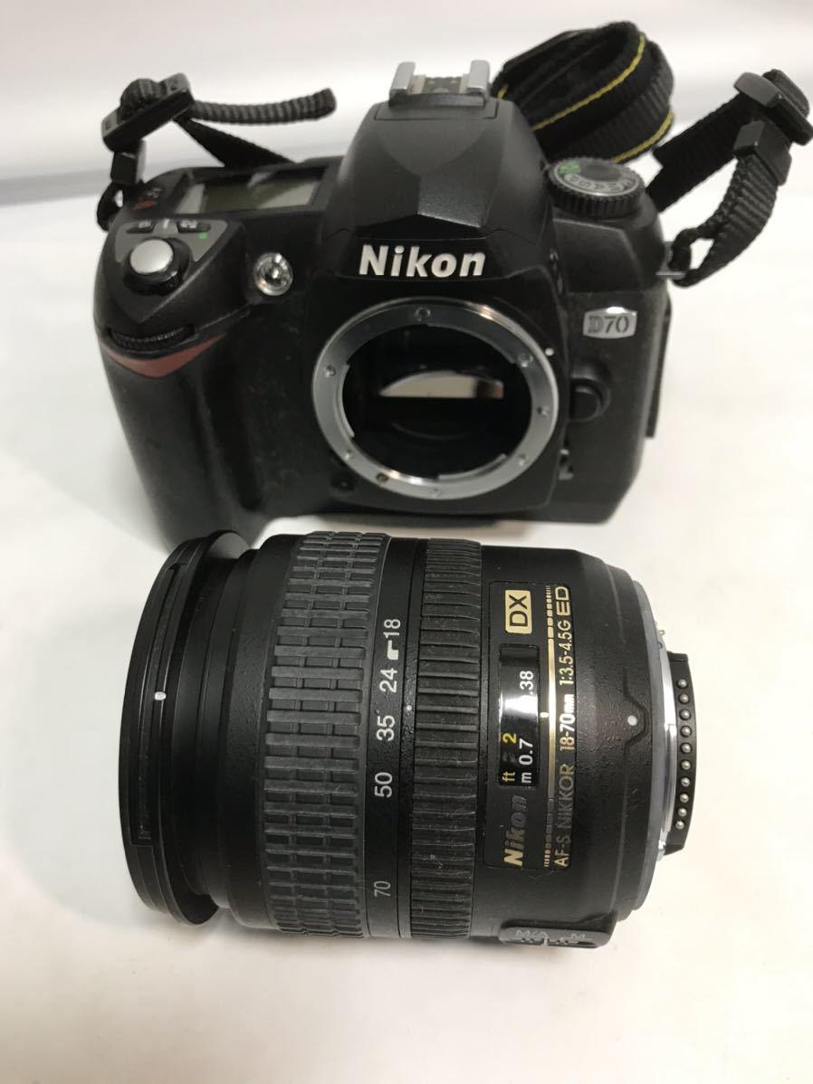 Nikon ニコン D70 デジタル一眼レフカメラ AF-S DX ZOOM-NIKKOR 18-70mm f/3.5-4.5G IF ED 簡易動作確認済 ショット数不明 元箱 現状 T1111_画像2