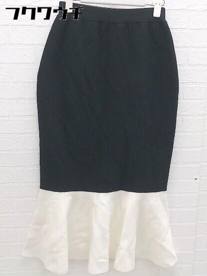 ◇ ●新品● ◎ rienda タグ付き バイカラー ロング マーメード ニットスカート サイズFREE ブラック ホワイト レディース_画像1
