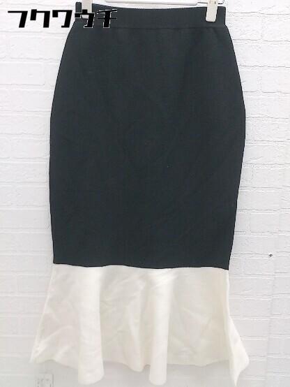 ◇ ●新品● ◎ rienda タグ付き バイカラー ロング マーメード ニットスカート サイズFREE ブラック ホワイト レディース_画像2