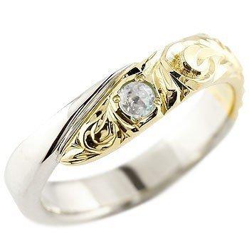 ハワイアンジュエリー ブルームーンストーン プラチナ イエローゴールドk18 18金 コンビリング 指輪 レディース 6月誕生石_画像1