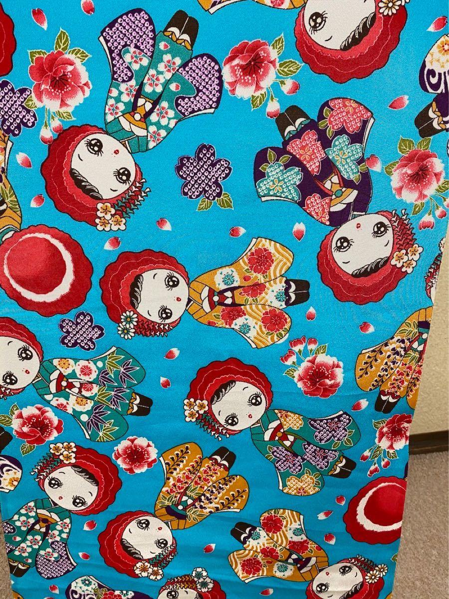 着物はぎれ 和柄 文化人形柄 表生地 地紋 正絹(シルク100%)