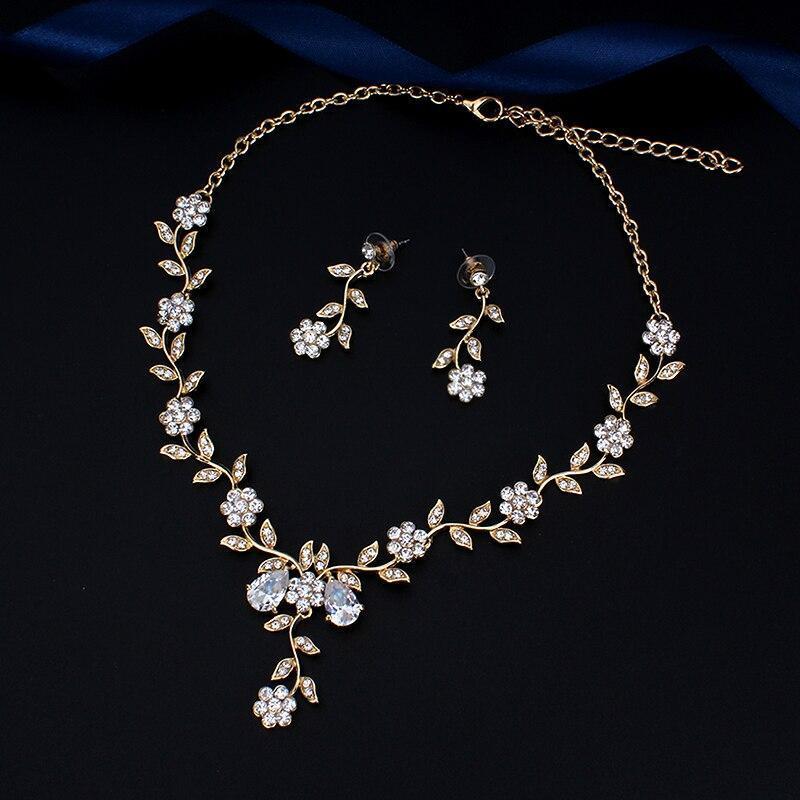 YY0059 古典的なブライダルジュエリーセット 女性のためのドレスアクセサリー ネックレスイヤリングセットゴールド色のウェディングドレス_画像4