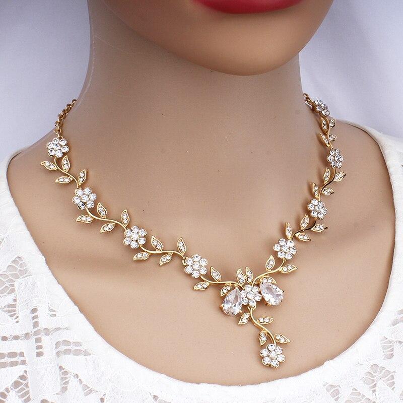 YY0059 古典的なブライダルジュエリーセット 女性のためのドレスアクセサリー ネックレスイヤリングセットゴールド色のウェディングドレス_画像5