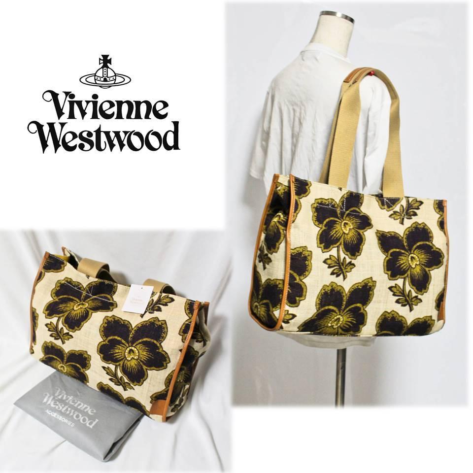 《Vivienne Westwood ヴィヴィアンウエストウッド》新品 春夏モデル 麻素材 ダンシングフラワー トートバッグ ポケット多数 A3607