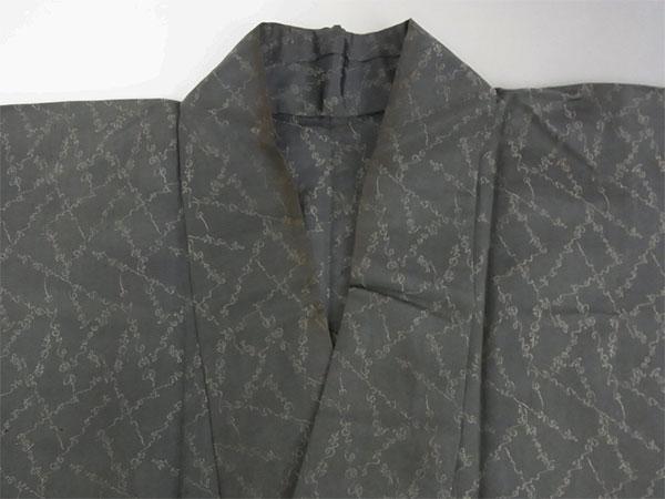 【中古】小紋 単 古着 ハギレ 舞台衣装 灰色 身丈141cm 【着物】_画像2