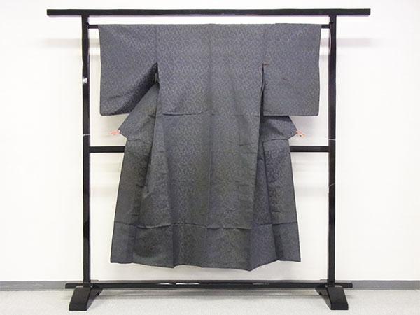 【中古】小紋 単 古着 ハギレ 舞台衣装 灰色 身丈141cm 【着物】_画像1