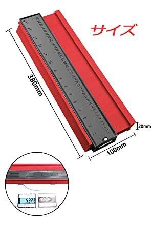 赤 型取りゲージ 380mm Bisoff 測定工具 測定ツール ゲージ コンターゲージ 曲線定規 不規則な測定器 ABSプラス_画像2