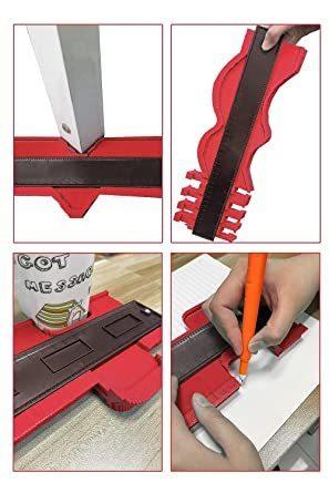 赤 型取りゲージ 380mm Bisoff 測定工具 測定ツール ゲージ コンターゲージ 曲線定規 不規則な測定器 ABSプラス_画像6