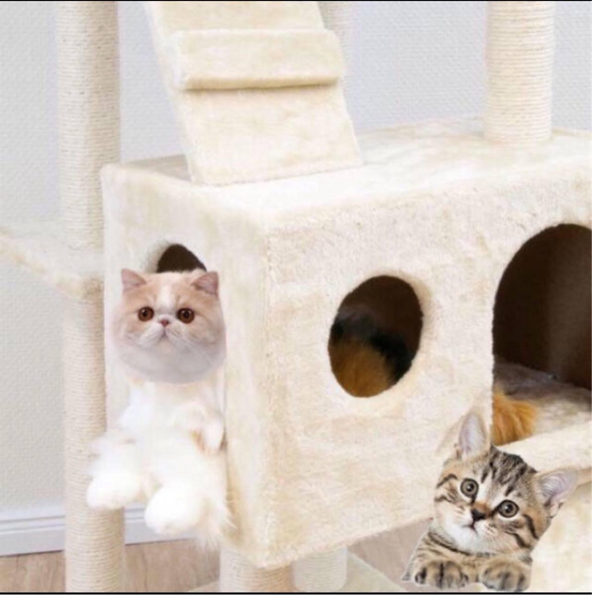 キャットタワー  猫タワー ワイド170cm  オフホワイト 置き型 ネコタワー