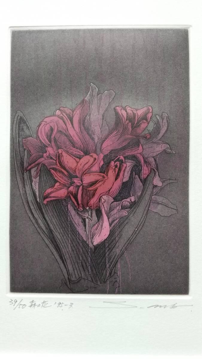 安藤真司 『 森の花 '95-3 』 銅版画 直筆サイン 1995年 50部 額装 【真作保証】_画像1