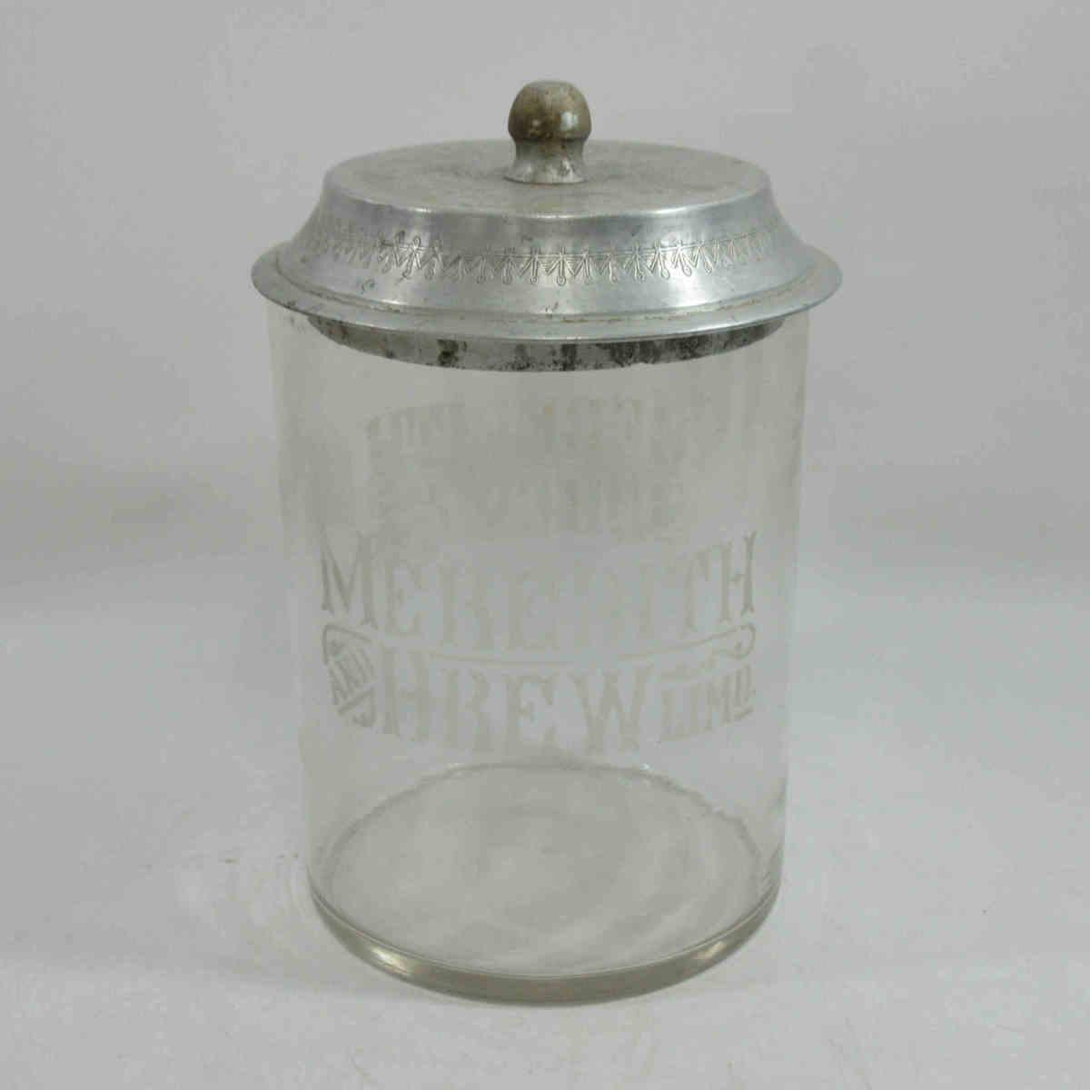 ★英国アンティーク MEREDITH & DREW'S ガラスビスケットジャー ガラス瓶 M&D イギリス ビンテージ l61