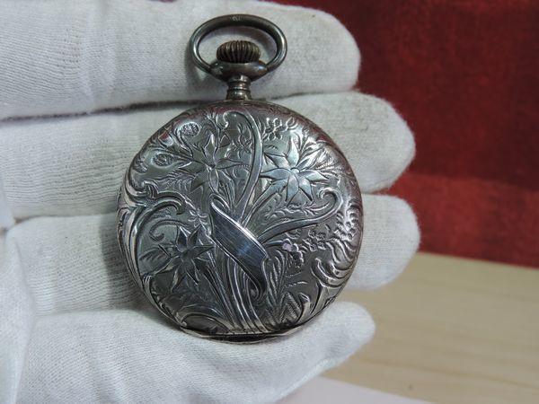 TAVANNES WATCH Co タバン ウォッチ 懐中時計 手巻き 935刻印 銀 花柄彫刻