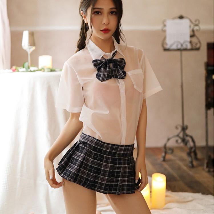 超セクシー シースルー 学生服 コスプレ 女子高生 制服 トップス&スカート RT321/ネイビー_画像4