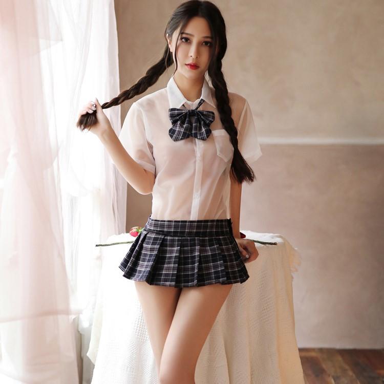 超セクシー シースルー 学生服 コスプレ 女子高生 制服 トップス&スカート RT321/ネイビー_画像9