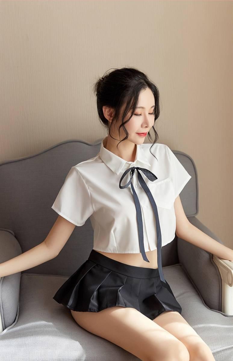 超セクシー 可愛い 学生服 セーラー服風 トップス+ミニスカート 3点セット コスプレ衣装 RT86/M_画像9