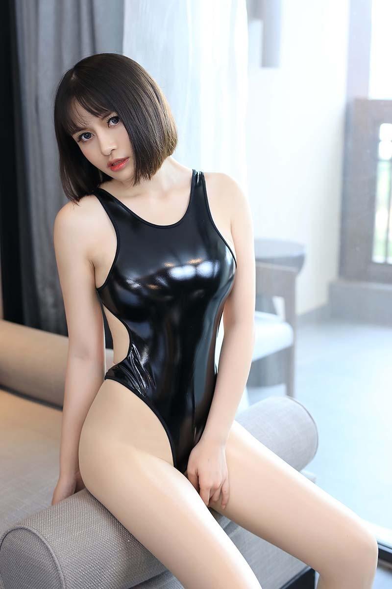 超セクシー エナメル 光沢 ハイレグレオタード フェイクレザー コスプレ レースクイーン RT256/ブラック_画像4