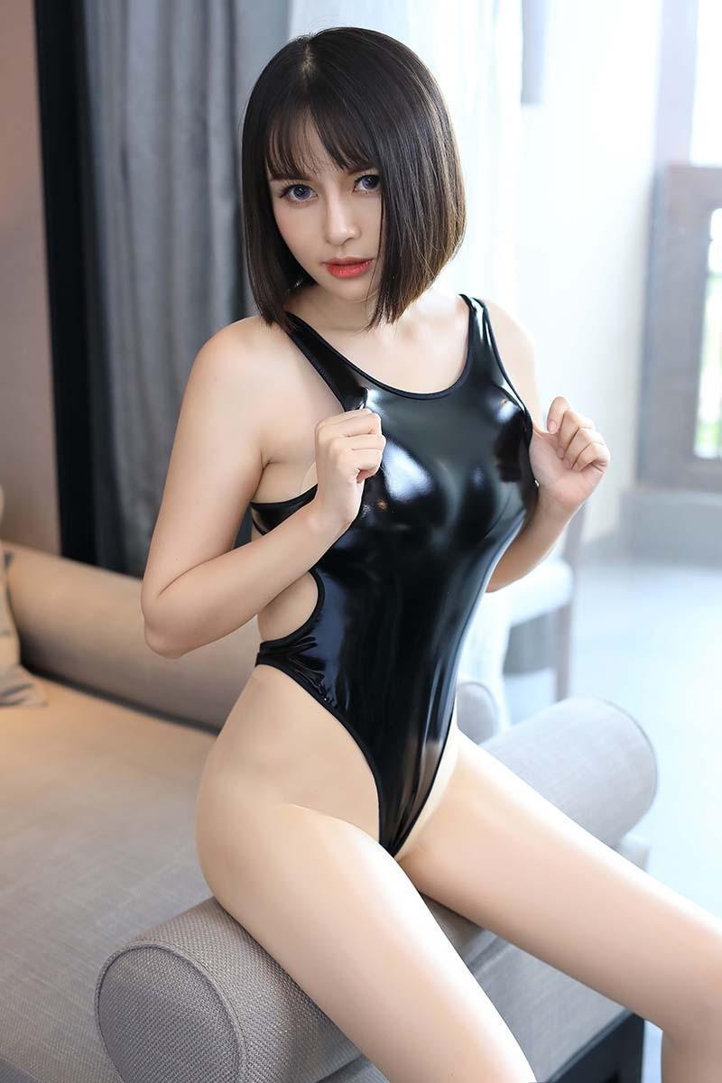 超セクシー エナメル 光沢 ハイレグレオタード フェイクレザー コスプレ レースクイーン RT256/ブラック_画像5