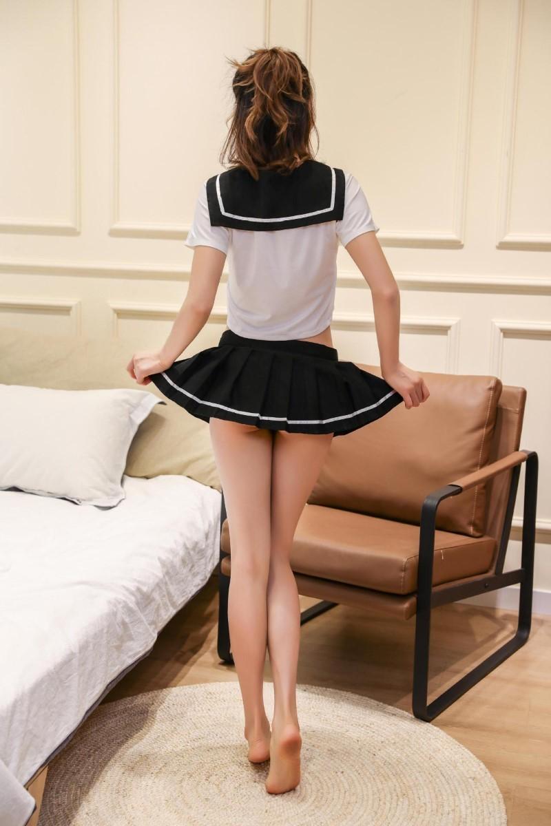 超セクシー 可愛くて シフォン セーラー風 学生服 トップス&ミニスカート コスチューム コスプレ RT158_画像6