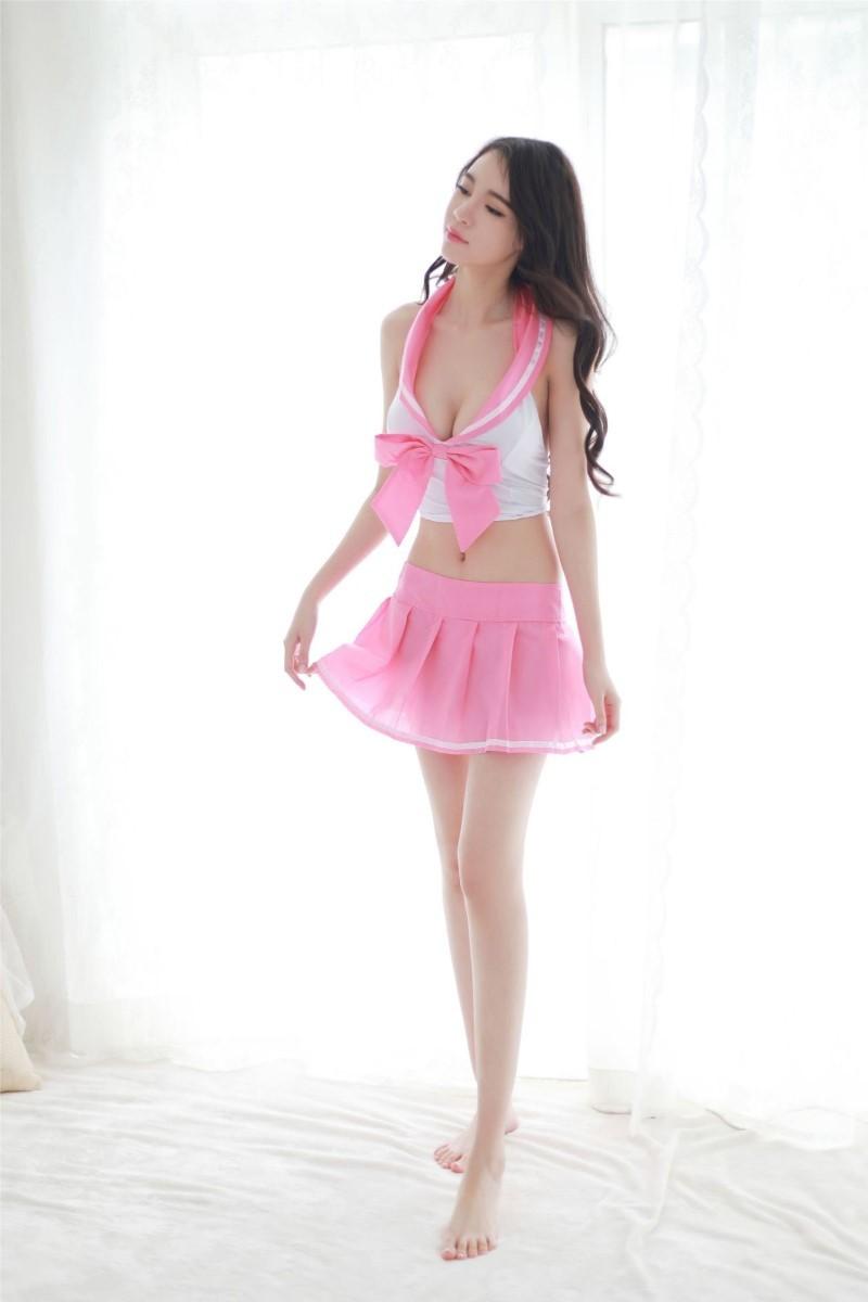 超セクシー可愛い!艶かしい 3点セット コスプレ衣装 学生服風 ベビードール トップス ミニスカート Tバック RT44/ピンク_画像6