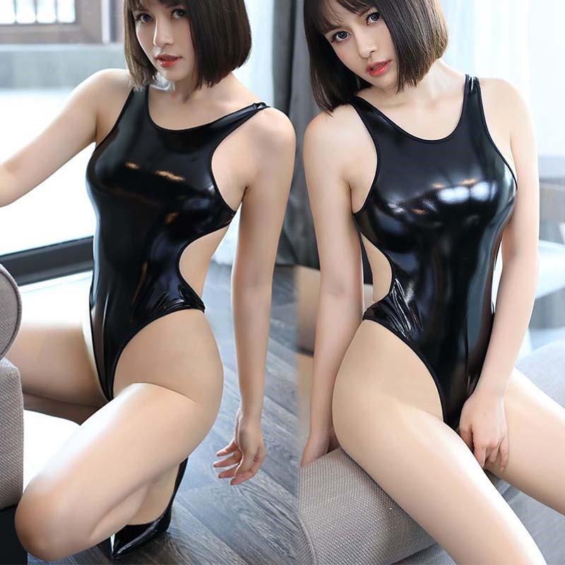 超セクシー エナメル 光沢 ハイレグレオタード フェイクレザー コスプレ レースクイーン RT256/ブラック_画像1