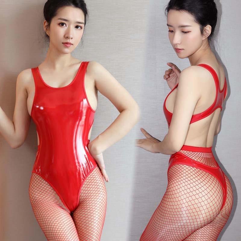 超セクシー エナメル 光沢 ハイレグレオタード フェイクレザー コスプレ レースクイーン RT256/レッド_画像1