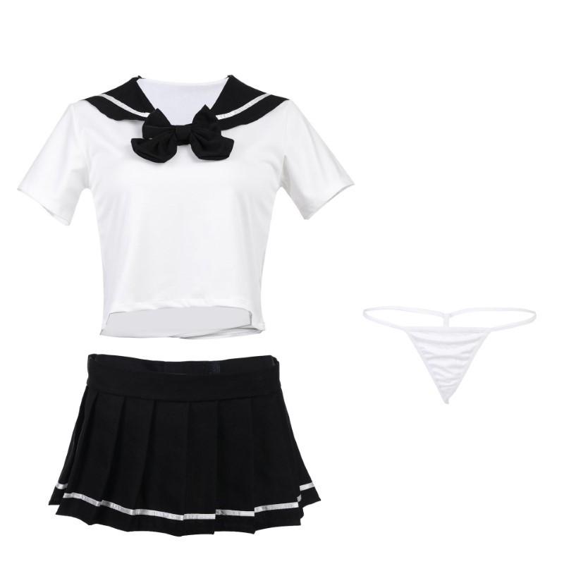 超セクシー 可愛くて シフォン セーラー風 学生服 トップス&ミニスカート コスチューム コスプレ RT158_画像10