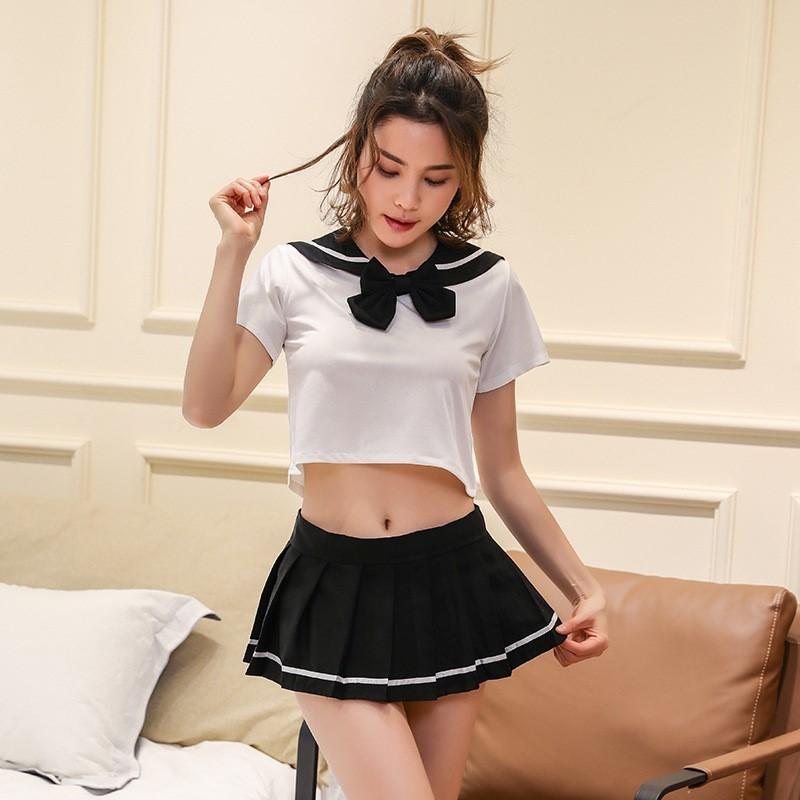 超セクシー 可愛くて シフォン セーラー風 学生服 トップス&ミニスカート コスチューム コスプレ RT158_画像1