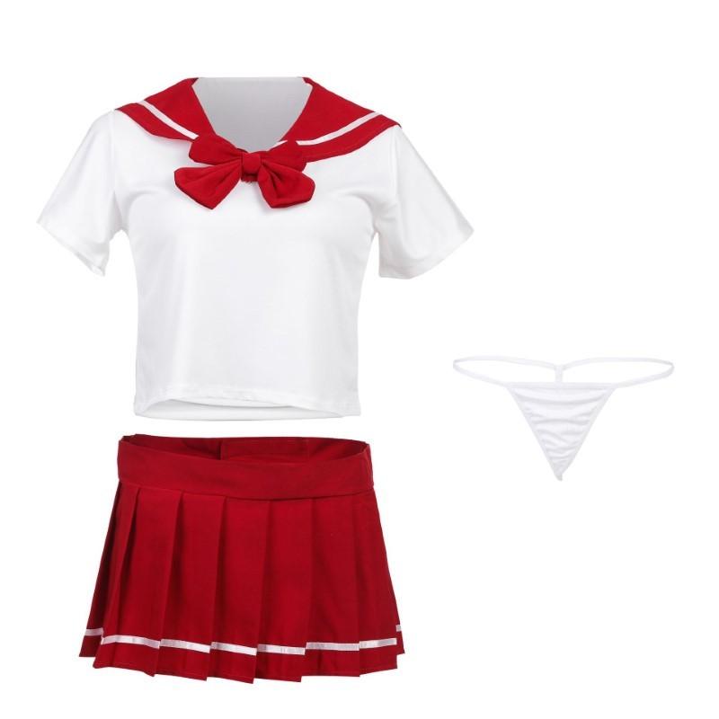 超セクシー 可愛くて シフォン セーラー風 学生服 トップス&ミニスカート コスチューム コスプレ RT158/レッド _画像10