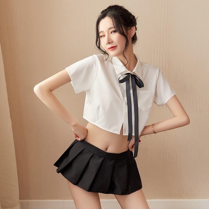 超セクシー 可愛い 学生服 セーラー服風 トップス+ミニスカート 3点セット コスプレ衣装 RT86/M_画像2