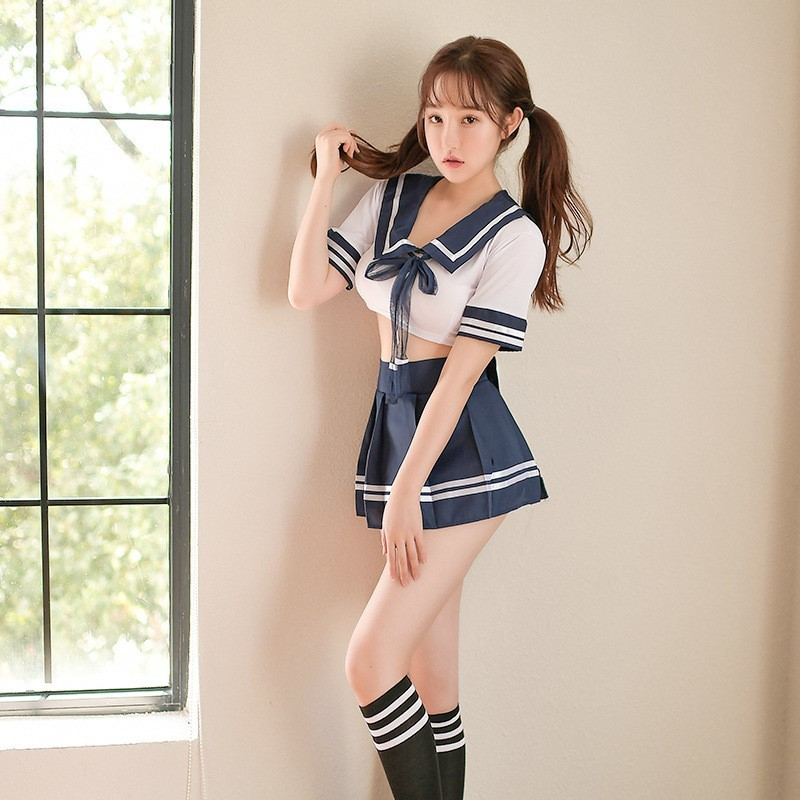 超セクシー可愛い 学生服 セーラー服風 4点セット コスプレ衣装 トップス&ミニスカート&ストッキング&ショーツ RT89_画像2