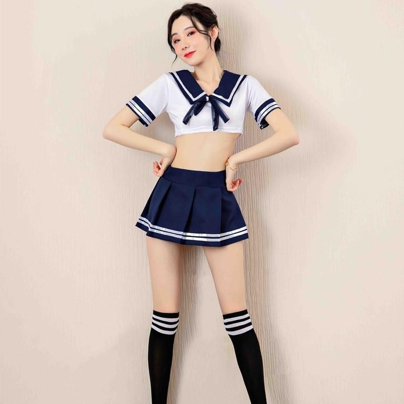 超セクシー可愛い セーラー服風 学生服 4点セット トップス&ミニスカート&ストッキング&ショーツ コスプレ衣装 RT91_画像3