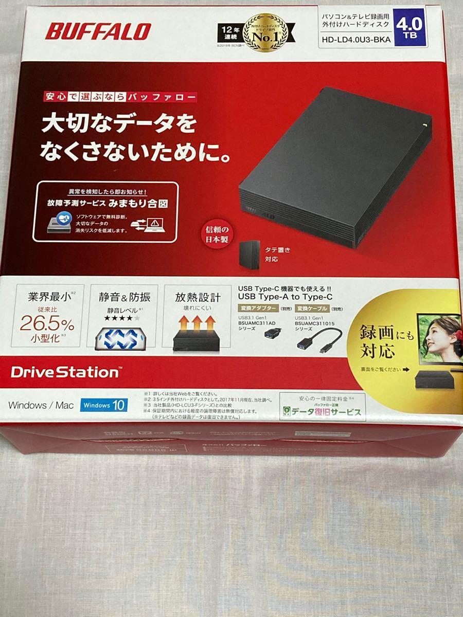 【新品・匿名配送】HD-LD4.0U3-BKA バッファロー USB3.1(Gen1)/ 3.0対応 外付けHDD 4TB