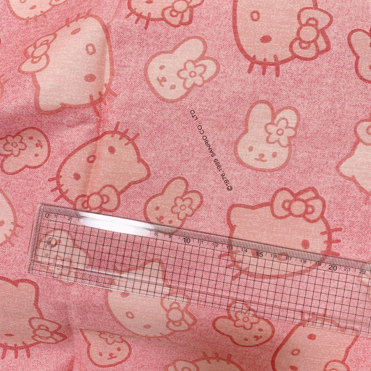 1999年製 レア キティ 赤のようなピンク ウサギさん ツイルかオックス はぎれ 生地