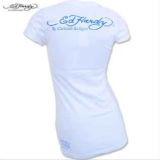 Ed Hardy エドハーディー レディース ベーシック クルー ネック スカンク 半袖 Tシャツ ホワイト Sサイズ_画像2