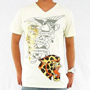 ED Hardy エドハーディー メンズ Vネック レオパードTシャツ ホワイト Mサイズ ed-9_画像1