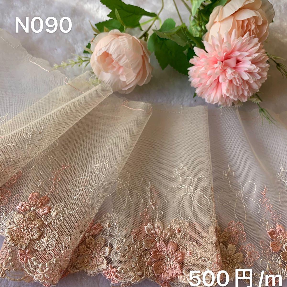 チュールレース ケミカルレース 花柄N090