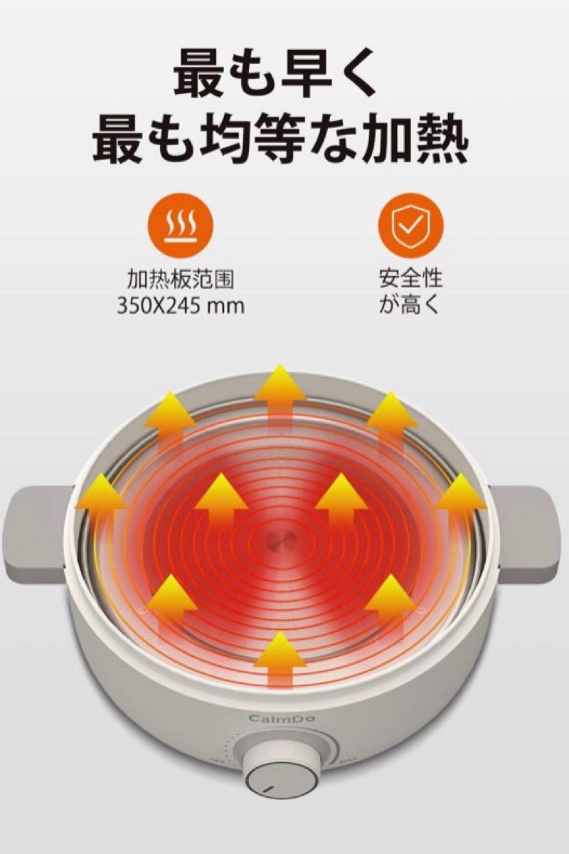ホットプレート たこ焼き器 電気鍋 プレート3種 焼肉 蓋付 温度調節 2.5L