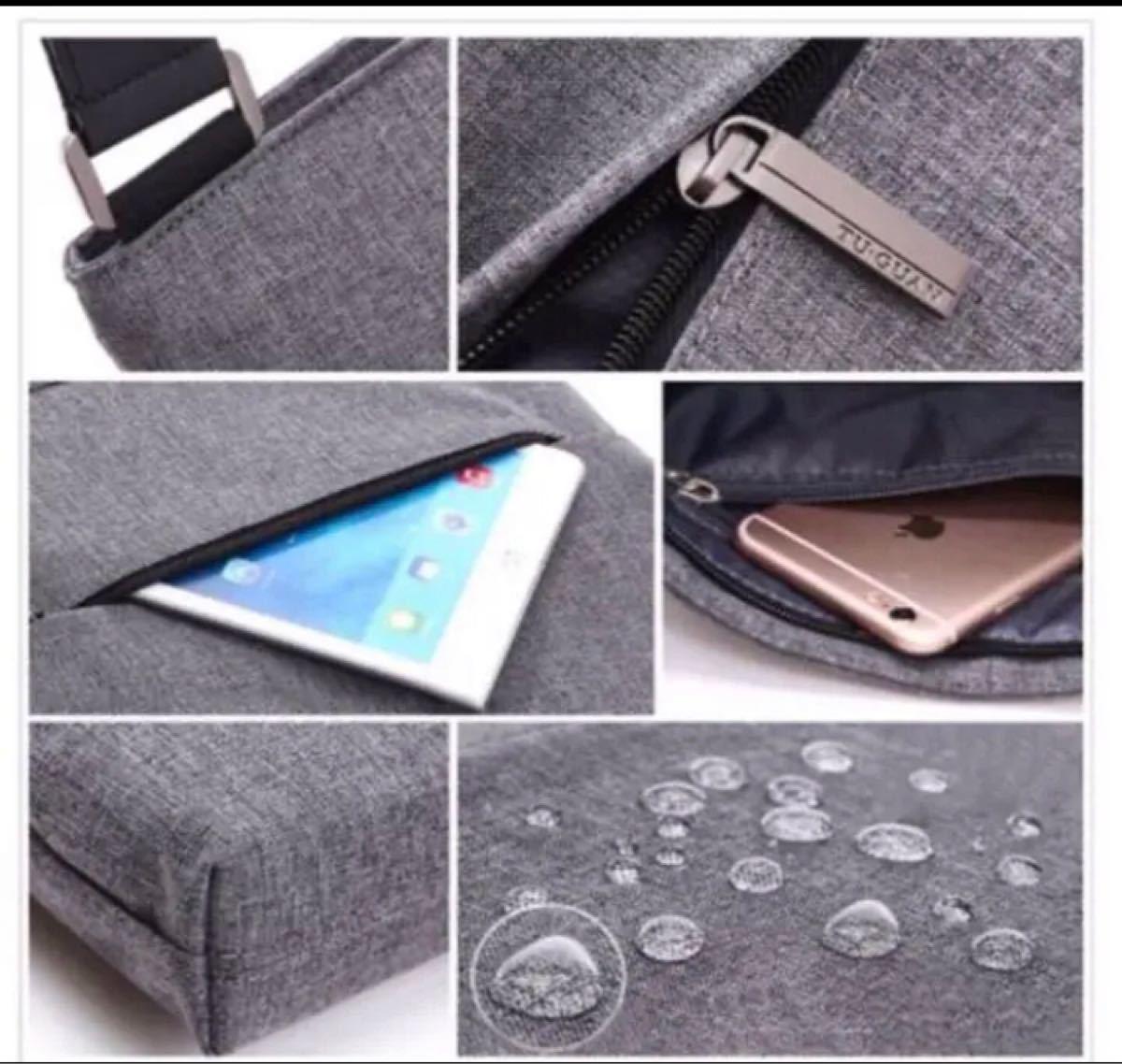 メンズ ショルダーバッグ ビジネスバッグ グレー スーツバッグ iPad収納 メンズバッグ  メッセンジャーバッグ iPad