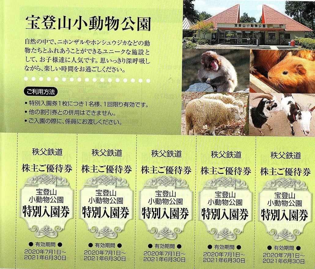 秩父鉄道 株主優待券 宝登山小動物公園 入園券 5枚set 2021年6月末迄有効_画像1