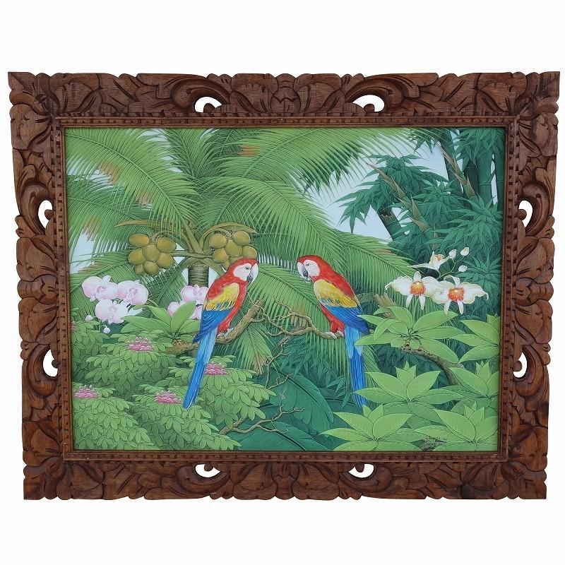 2匹のカラフルオウムと椰子の絵 プンゴセカンスタイル 100X80 Parsa W.作 YSA-240453 美術品&絵画&アクリル、ガッシュ