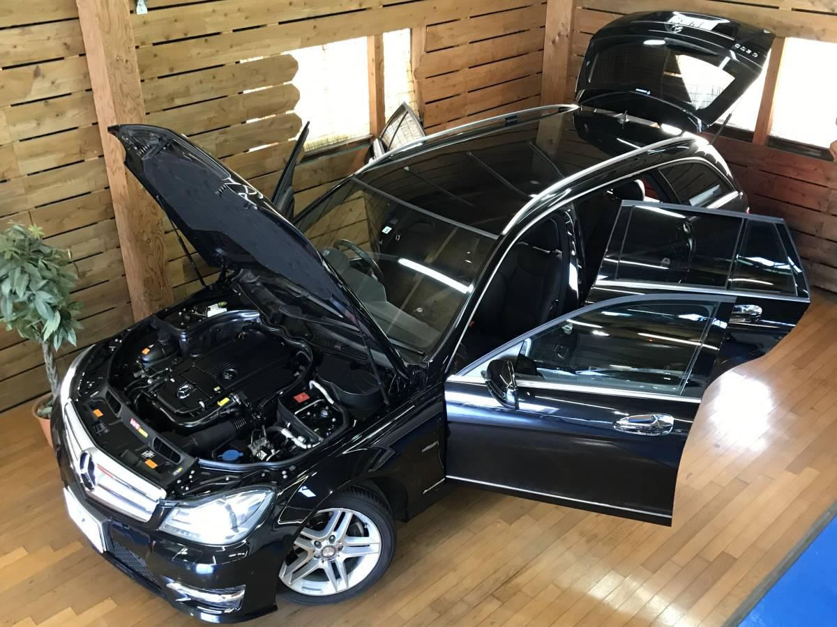 「希少フルレザー 車検R5.6 走行3.8万km コーティング済 W204後期 ベンツ Cクラス ワゴン アバンギャルド AMGスポーツPKG 内外装仕上済!」の画像2