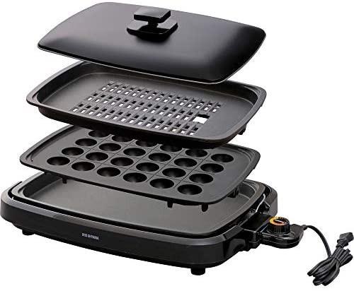 リピート商品 アイリスオーヤマ ホットプレート たこ焼き 焼肉 平面 プレート 3枚 網焼き 蓋付き ブラック Y12246_画像1