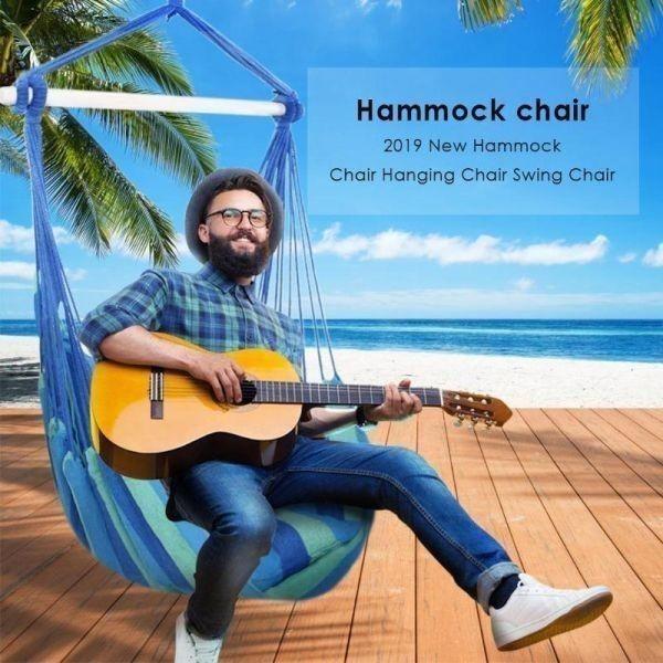 価値あり!屋外用ハンモック キャンプ アウトドア チェア 吊り椅子 スイング ゆりかご レジャー 野外 赤 青 レッド ブルー 選べる4色_画像2