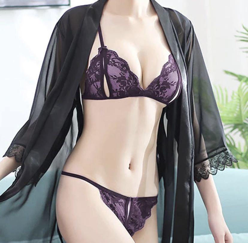 セクシーランジェリー ベビードールL 黒& 穴あきブラショーツ 紫&黒セット 下着 Tバックショーツ sexy 光沢
