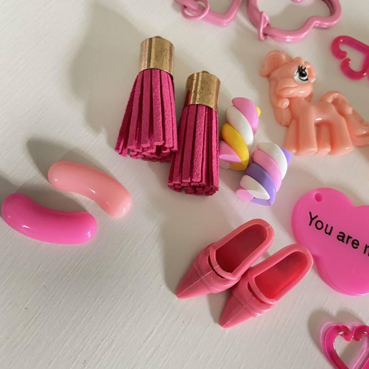 デコパーツ セット ピンク バービー フリンジ リボン ソフトクリーム デコ デコ電 パーツ 素材