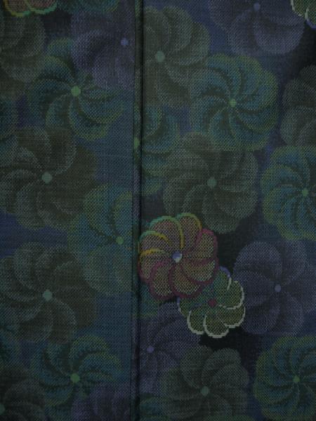 新品 0089 お仕立て上がり 特選『本場大島紬』 純泥染 旗印 黒/深緑_画像5