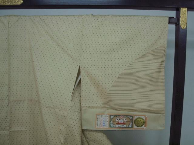 新品 1531 特選 大島紬『二代目 川村久太郎』お仕立て上がり訪問着 蒸栗色系 つゆ芝_画像3