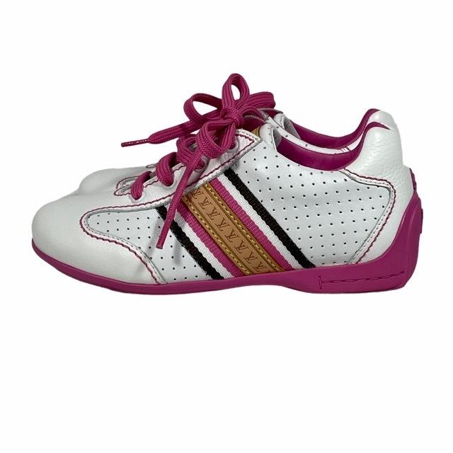 【美品】LOUIS VUITTON ルイヴィトン スニーカー 靴 シューズ LVロゴ キッズ チルドレン ホワイト ピンク [サイズ 20 (約12cm)_画像3