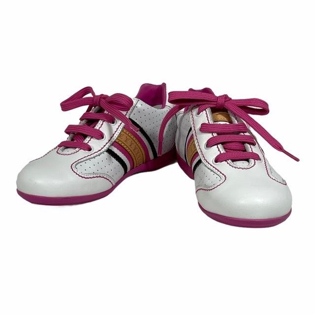 【美品】LOUIS VUITTON ルイヴィトン スニーカー 靴 シューズ LVロゴ キッズ チルドレン ホワイト ピンク [サイズ 20 (約12cm)_画像1