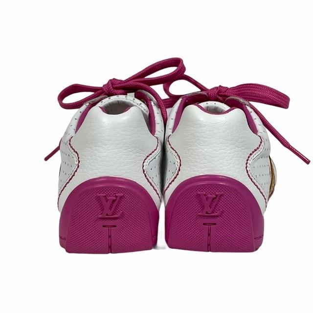【美品】LOUIS VUITTON ルイヴィトン スニーカー 靴 シューズ LVロゴ キッズ チルドレン ホワイト ピンク [サイズ 20 (約12cm)_画像4